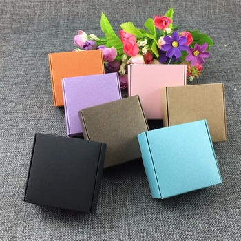 50PCS/Lot 6.5*6.5*3cm Kraft Paper Gift Mixed color Box Jewelry Displays Blank Package Carry Case Kraft Boxes Accept Custom Logo